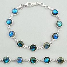 24.38cts natural blue labradorite 925 sterling silver tennis bracelet t19649
