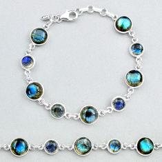 25.06cts natural blue labradorite 925 sterling silver tennis bracelet t48730