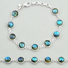 24.00cts natural blue labradorite round shape 925 silver tennis bracelet t19651