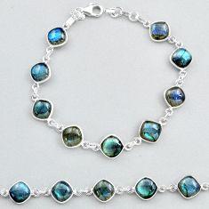 27.64cts natural blue labradorite tennis 925 sterling silver bracelet t48734