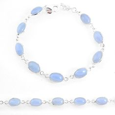 17.20cts natural blue lace agate 925 sterling silver tennis bracelet r74666