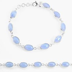 16.70cts natural blue lace agate 925 sterling silver tennis bracelet r74668