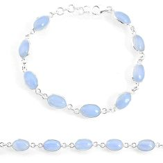 17.20cts natural blue lace agate 925 sterling silver tennis bracelet r74670
