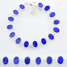 20.53cts natural blue lapis lazuli 925 sterling silver bracelet jewelry r88302