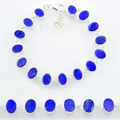 21.26cts natural blue lapis lazuli 925 sterling silver bracelet jewelry r88306