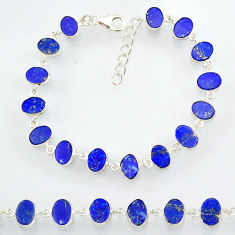 21.17cts natural blue lapis lazuli 925 sterling silver bracelet jewelry r88309