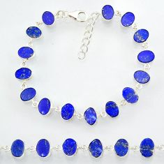 19.28cts natural blue lapis lazuli 925 sterling silver bracelet jewelry r88310