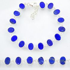 18.97cts natural blue lapis lazuli 925 sterling silver bracelet jewelry r88313