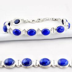 39.50cts natural blue lapis lazuli 925 sterling silver tennis bracelet r38902