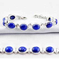 40.36cts natural blue lapis lazuli 925 sterling silver tennis bracelet r38903