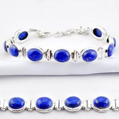39.48cts natural blue lapis lazuli 925 sterling silver tennis bracelet r38905