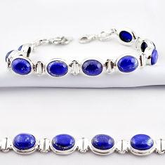38.31cts natural blue lapis lazuli 925 sterling silver tennis bracelet r38907