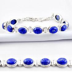 38.27cts natural blue lapis lazuli 925 sterling silver tennis bracelet r38910