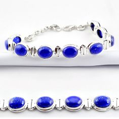 37.45cts natural blue lapis lazuli 925 sterling silver tennis bracelet r38911