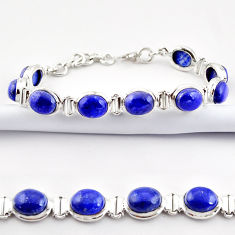 39.91cts natural blue lapis lazuli 925 sterling silver tennis bracelet r38912