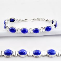 38.31cts natural blue lapis lazuli 925 sterling silver tennis bracelet r38915