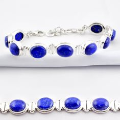 38.68cts natural blue lapis lazuli 925 sterling silver tennis bracelet r38916