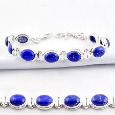 37.02cts natural blue lapis lazuli 925 sterling silver tennis bracelet r38917