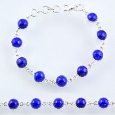 25.93cts natural blue lapis lazuli 925 sterling silver tennis bracelet r55089