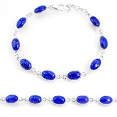 18.47cts natural blue lapis lazuli 925 sterling silver tennis bracelet r74676