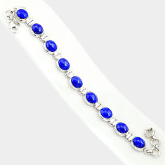 36.96cts natural blue lapis lazuli 925 sterling silver tennis bracelet r84281