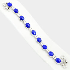 36.96cts natural blue lapis lazuli 925 sterling silver tennis bracelet r84283