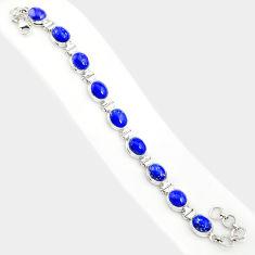36.96cts natural blue lapis lazuli 925 sterling silver tennis bracelet r84285