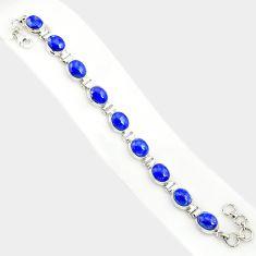 37.86cts natural blue lapis lazuli 925 sterling silver tennis bracelet r84286