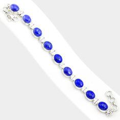 38.31cts natural blue lapis lazuli 925 sterling silver tennis bracelet r84287