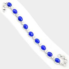 39.01cts natural blue lapis lazuli 925 sterling silver tennis bracelet r84289