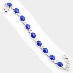 37.43cts natural blue lapis lazuli 925 sterling silver tennis bracelet r84290