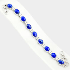 39.48cts natural blue lapis lazuli 925 sterling silver tennis bracelet r84291