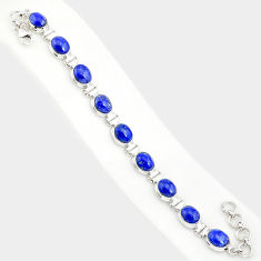 36.96cts natural blue lapis lazuli 925 sterling silver tennis bracelet r84295