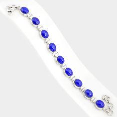 38.72cts natural blue lapis lazuli 925 sterling silver tennis bracelet r84302