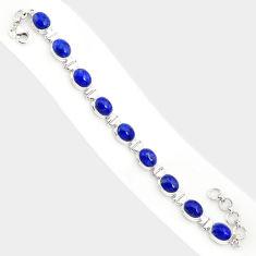 38.72cts natural blue lapis lazuli 925 sterling silver tennis bracelet r84342