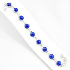 27.13cts natural blue lapis lazuli 925 sterling silver tennis bracelet r84899