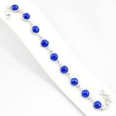 27.10cts natural blue lapis lazuli 925 sterling silver tennis bracelet r84900