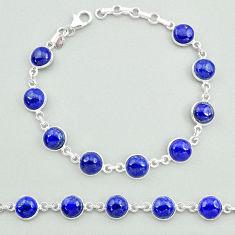25.00cts natural blue lapis lazuli 925 sterling silver tennis bracelet t19681