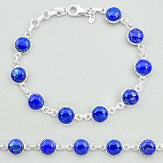 25.27cts natural blue lapis lazuli 925 sterling silver tennis bracelet t19683