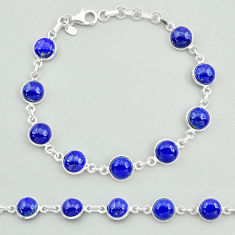 24.49cts natural blue lapis lazuli 925 sterling silver tennis bracelet t19685