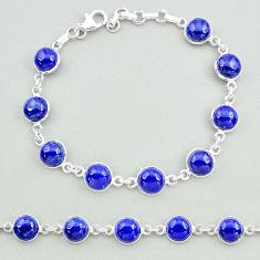 26.00cts natural blue lapis lazuli 925 sterling silver tennis bracelet t19686