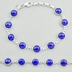 25.60cts natural blue lapis lazuli 925 sterling silver tennis bracelet t19687