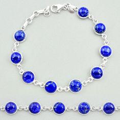 24.98cts natural blue lapis lazuli 925 sterling silver tennis bracelet t19689