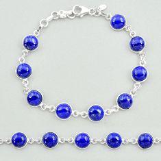 26.03cts natural blue lapis lazuli 925 sterling silver tennis bracelet t19690