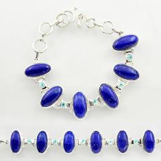 50.71cts natural blue lapis lazuli topaz 925 silver tennis bracelet r27469