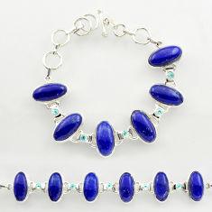 51.79cts natural blue lapis lazuli topaz 925 silver tennis bracelet r27470