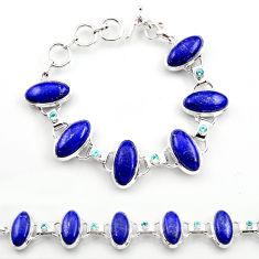 61.59cts natural blue lapis lazuli topaz 925 sterling silver bracelet r30758