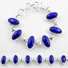45.18cts natural blue lapis lazuli topaz 925 sterling silver bracelet r45216