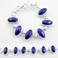 51.57cts natural blue lapis lazuli topaz 925 sterling silver bracelet r45217