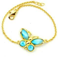 Natural blue larimar 925 silver 14k gold butterfly bracelet a63395 c13861